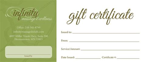 free printable gift certificate massage gift certificates infinity massage wellness