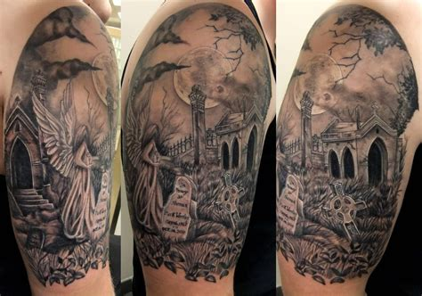 scenery tattoo designs graveyard