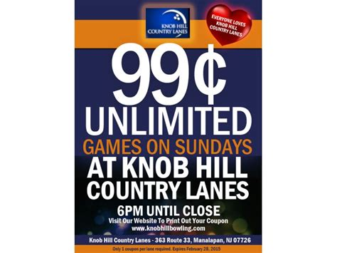 Knob Hill Lanes by February Coupons Knob Hill Country Lanes East