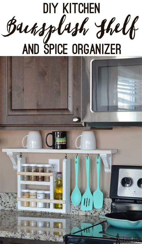 diy kitchen cabinet organizers kitchen backsplash shelf and organizer her tool belt