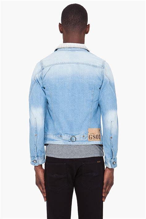 lyst  star raw faded arc denim jacket  blue  men