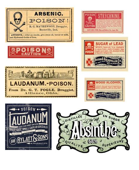 printable poison labels pin by the peculiar palette on design ideas pinterest