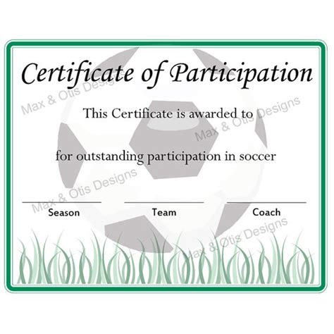 soccer certificate of participation certificate by maxandotis