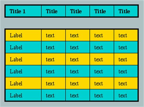exles of table borders and
