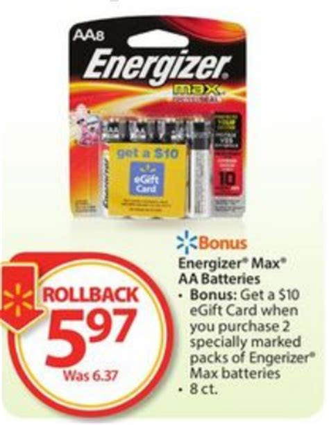 Walmart Gift Card Limit - free energizer batteries 8 packs at walmart after gift card