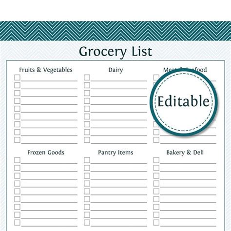 Editable Grocery List Template World Of Exle Category Template