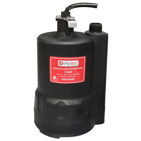shop utilitech 0 33 hp thermoplastic submersible utility