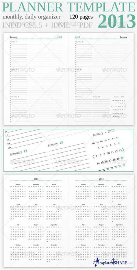 daily planner template indesign free graphicriver planner 2013 187 templates4share com free web
