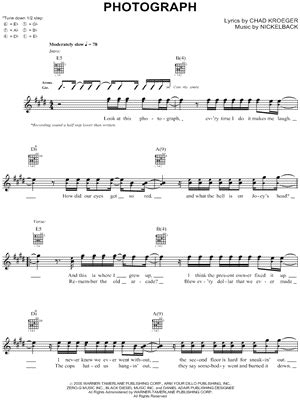 guitar tutorial of photograph nickelback quot photograph quot guitar tab download print