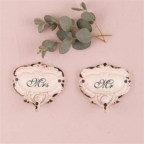 shabby chic hooks shabby chic hook set with mr and mrs inscription