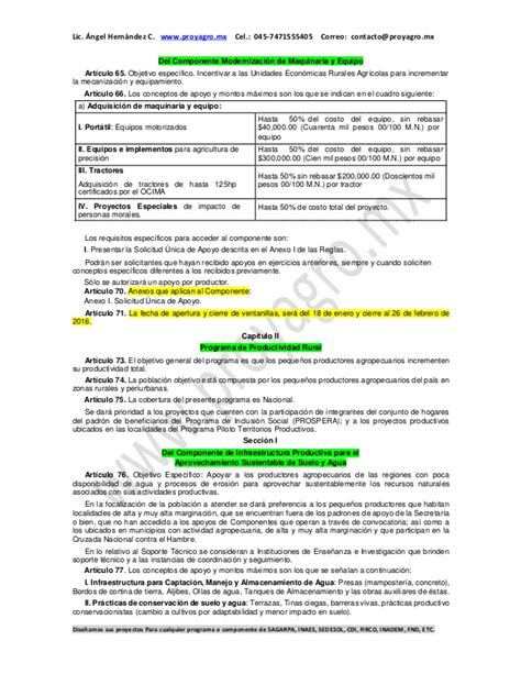 regla de prospera 2016 resumen reglas de operaci 243 n sagarpa 2016 2