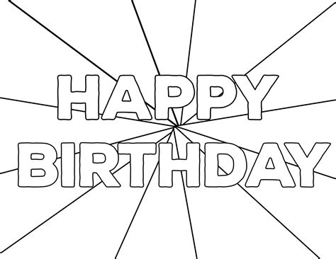 printable happy birthday coloring pages paper trail