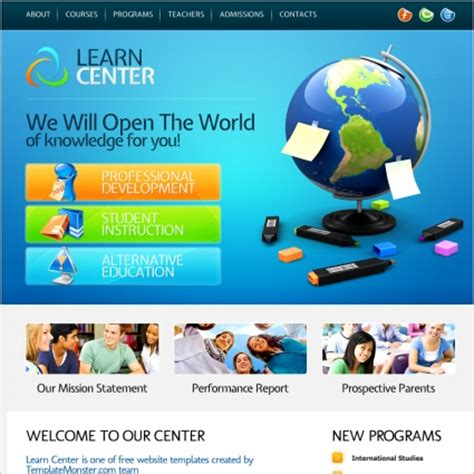 learn center template free website templates in css html