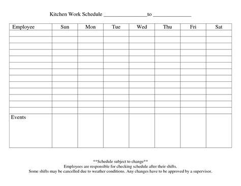 Galerry weekly employee work schedule template free blank schedule by