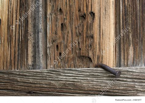picture  rough weathered wood   big rusty nail