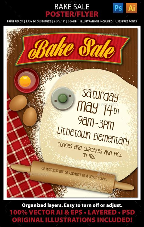25 Bake Sale Flyer Templates Printable Psd Ai Vector Eps Format Download Design Trends Bake Sale Flyer Template