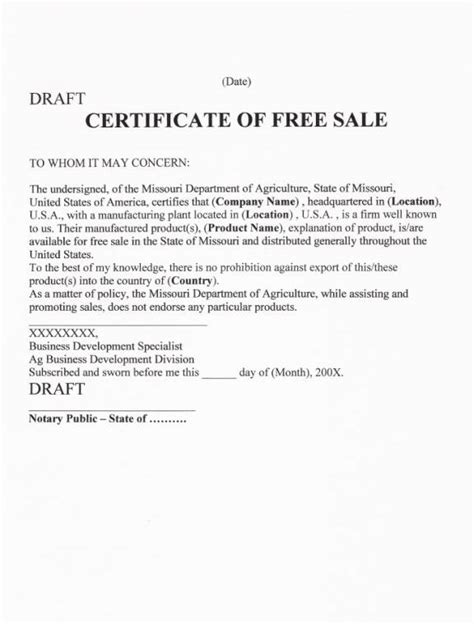 certification letter of ownership sle sle of certificate of free sale images certificate