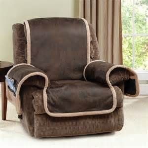 Quilted Recliner Covers Sure Fit Vintage Leather Quilted Recliner Cover With Pocket Brown Walmart
