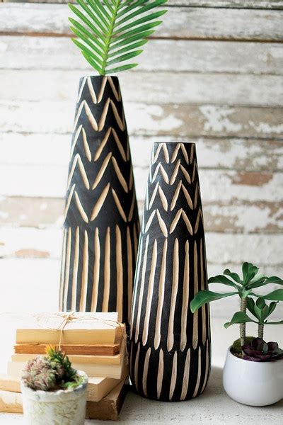 set   tall black wooden vases  carving