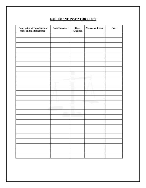 inventory list templates 6 best images of printable inventory list form printable