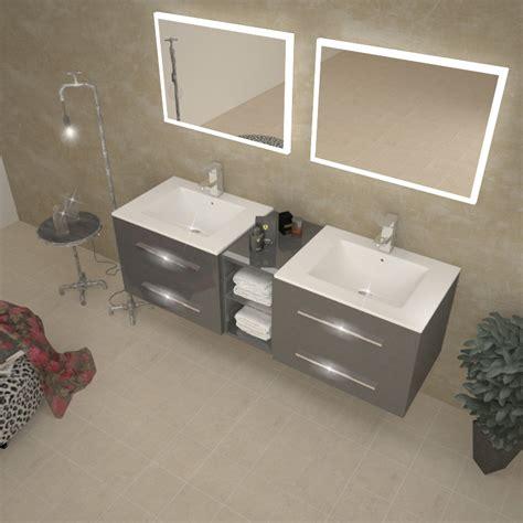 Aqua Bathroom Vanity Sonix 1500 Wall Hung Double Basin Vanity Unit Grey Buy