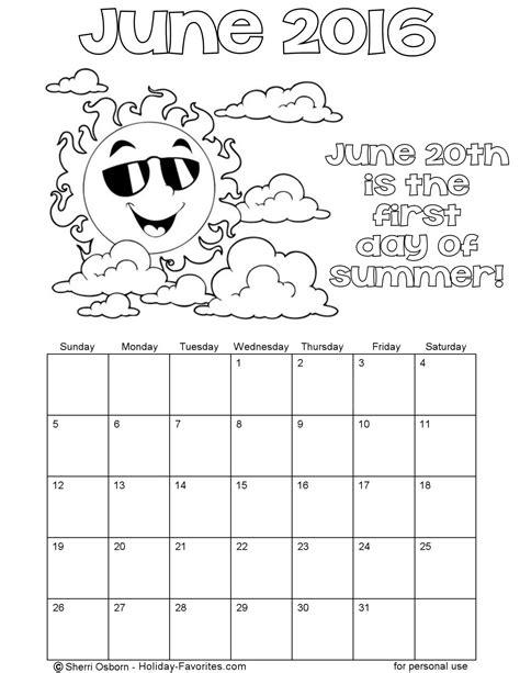 printable calendar 2016 to color printable june 2016 calendars holiday favorites