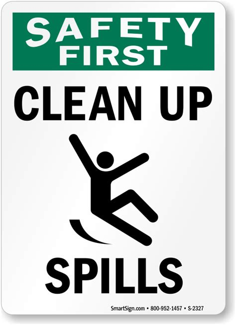 clean up spill clean up signs spill response signs