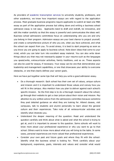 Mba Winning Essays by How To Write A Winning Business School Admission Essay