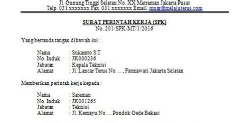 contoh surat perintah kerja tugas spk