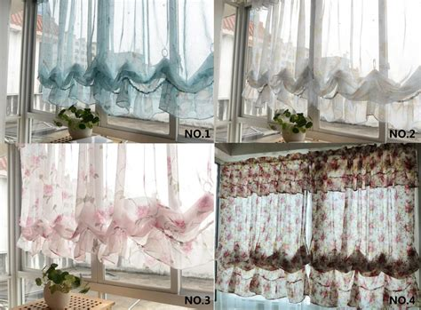balloon curtains for kitchen country pastrol floral sheer pull up balloon austrian cafe kitchen curtain ebay
