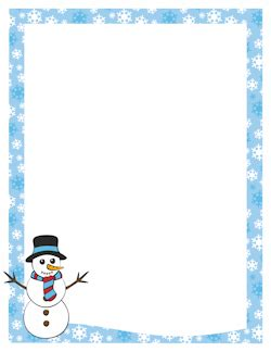 Microsoft Word Templates Place Holder Cards Winter by Snowman Border Borders Holidays Snowman