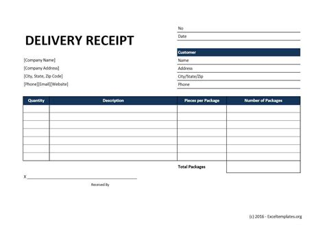customer receipt template excel delivery receipt template excel templates excel