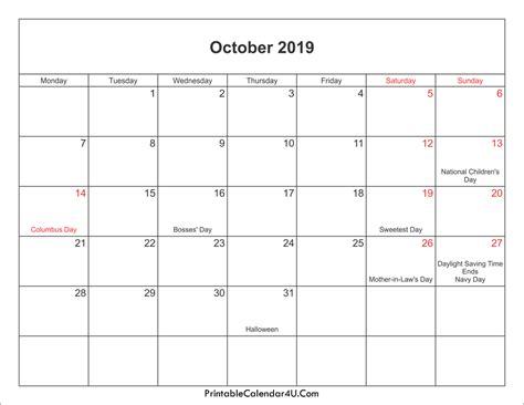 Calendar 2019 October October 2019 Calendar Printable With Holidays Pdf And Jpg