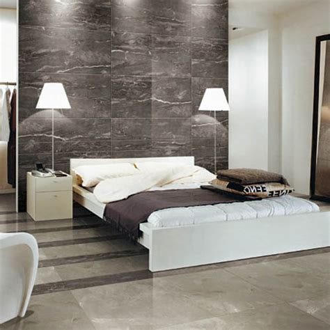 this modern bedroom features silk silver marble effect