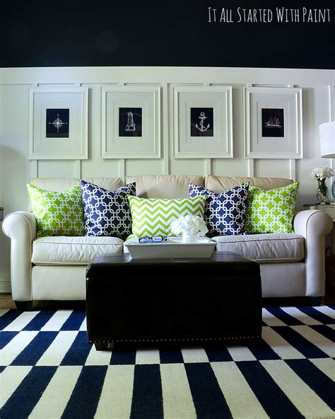 blue and green living rooms spring decor ideas in navy and yellow it all started