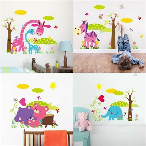 kid room decals giraffe animal diy removable wall sticker decal kid nursery baby home decor ebay