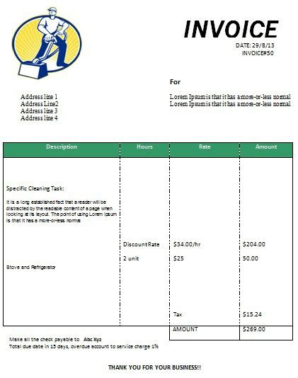 Invoice Template For Cleaning Services top 21 free cleaning service invoice templates demplates