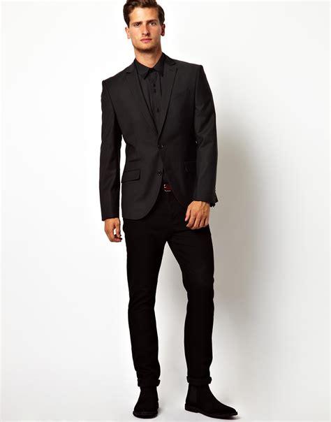 Vest Blazer Black lyst asos eleven slim fit suit jacket in black in black for