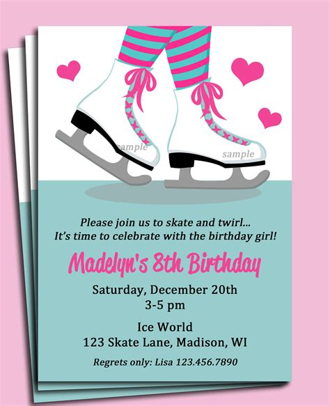 skating invitations templates skating invitation printable or printed with free shipping