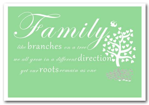 Family Tree Wall Murals family like branches on a tree green text quotes framed
