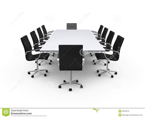 Modern Table Settings conference table and office chairs royalty free stock