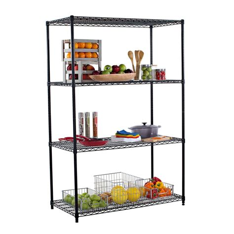 decorative shelves home depot trinity 48 in x 24 in nsf black 4 tier wire rack