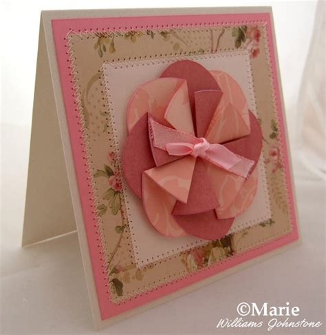 Folded Paper Cards - folded flower card with free template