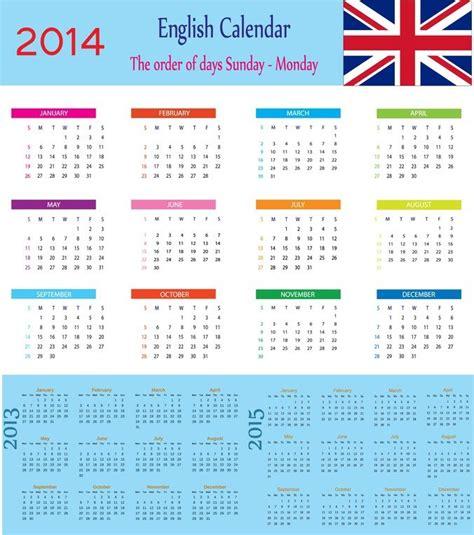 Kalender Englisch Calendar 2014 Vector Graphics 365psd