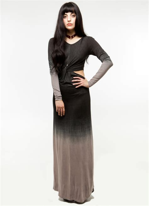 ombre out of fashion an ombre maxi dress with long sleeves and side cut out