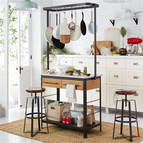 Kitchen Island With Hanging Pot Rack Marble Kitchen Island Pot Rack West Elm