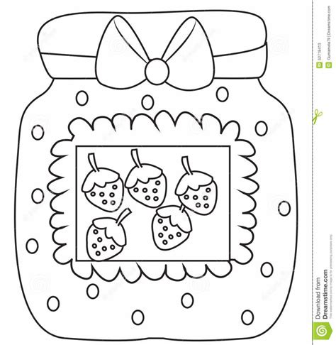 strawberry jam coloring page stock illustration image