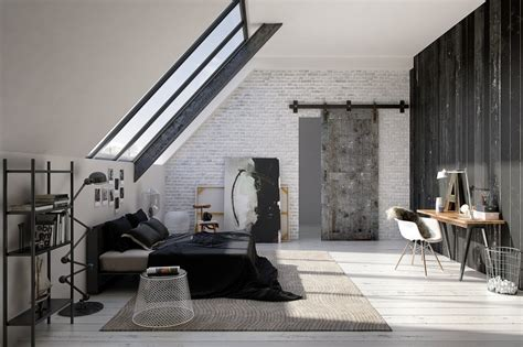 themes industrial design modern bedroom in industrial design in white and gray