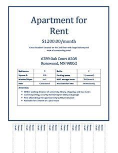 Apartment Flyer Template Apartment Ad Pinterest Flyer Template Apartments And Renting Sublet Advertisement Template