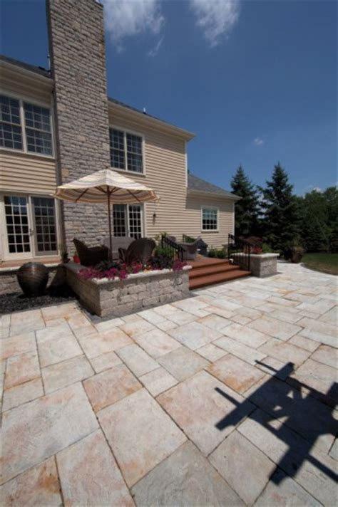 Unilock Yorkstone Unilock Patio With Yorkstone Paver And Estate Wall Planter